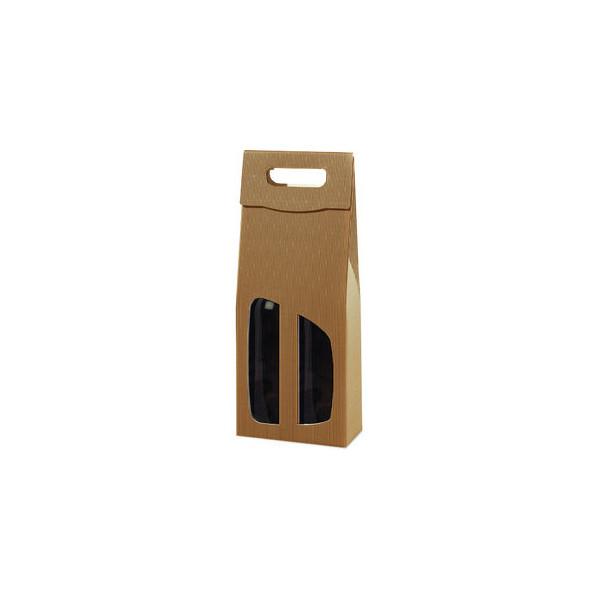 Geschenktragetasche für 2 Flaschen natur 18x9x36,5cm