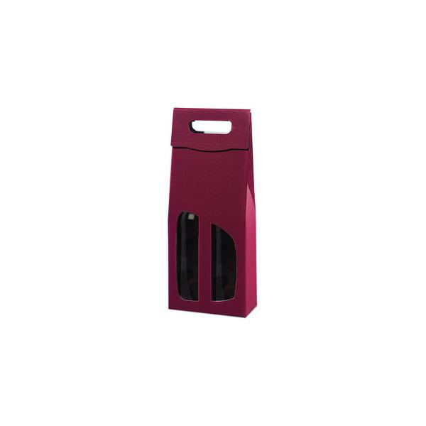 Geschenktragetasche für 2 Flaschen rot 18x9x36,5cm
