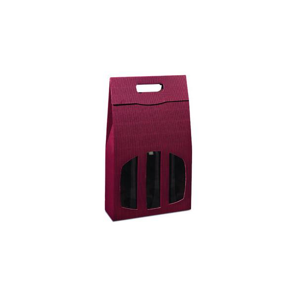 Geschenktragetasche für 3 Flaschen rot 27x9x36,5cm