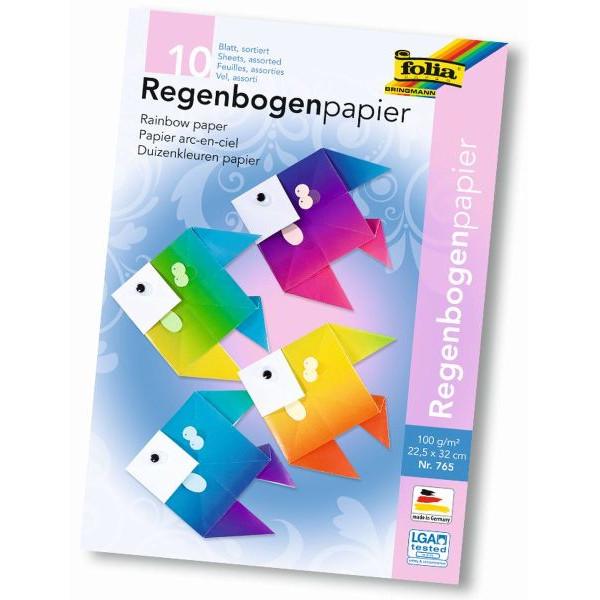 FOLIA 765 ungummiert 22x32cm Regenbogenpapier Mappe 10BL