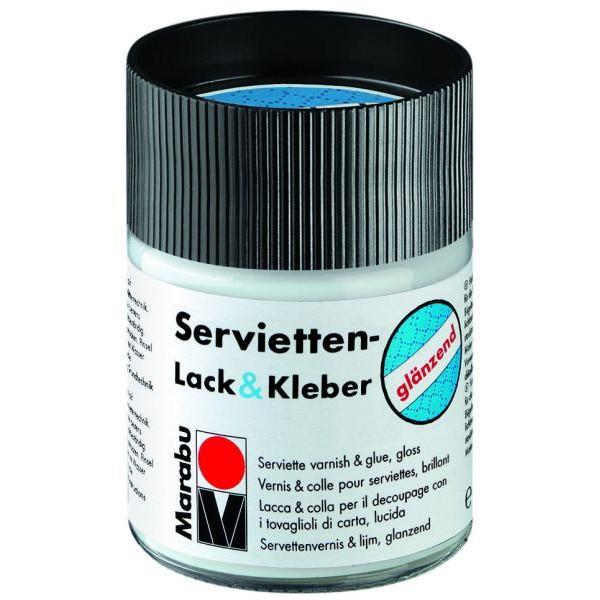 MARABU Servietten-Lack & Kleber - glänzend Decoupage & Serviette 1140 05 844, farblos, 50ml