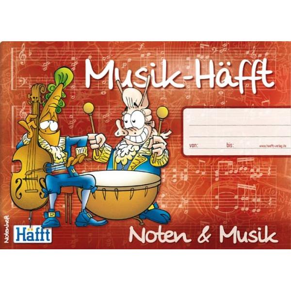 HÄFFT Musikheft Musik-Häfft A5 quer Notenlinien mit Lernhilfe 34 Blatt