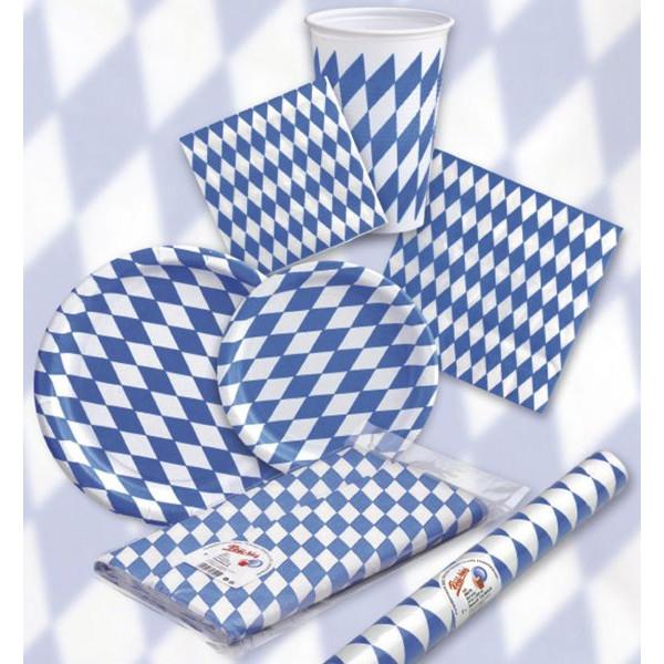 Pfiff-kuss Teller Bayrische-Raute Ø 23cm weiß/blau Pappe 10 Stück