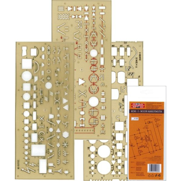 KOH-I-NOOR 703071 Elektro Zeichenschablone 3 STÜCK