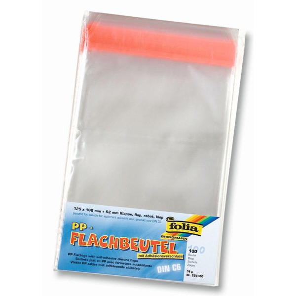 FOLIA Flachbeutel 256/00 für C6-Karte 0,038mm 125x162mm klar 100 Stück
