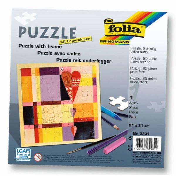 FOLIA 2331 21x21cm m.Rahmen Puzzle 25tlg.blanko weiß