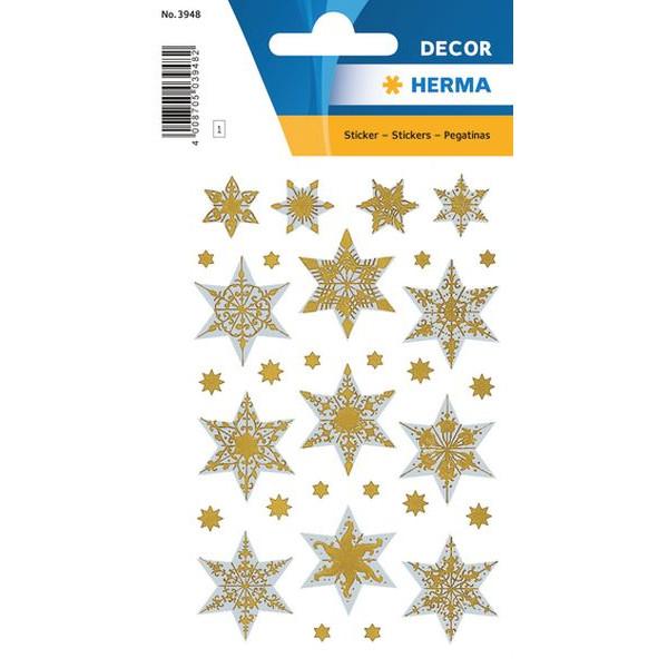HERMA 3948 Weihnachten Relief Schmucketikett Sterne silber