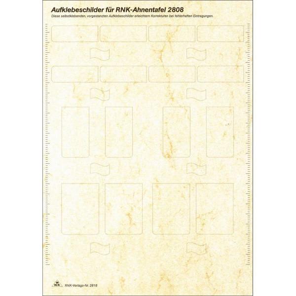 RNK Etikettenblatt 2818 für Ahnentafel