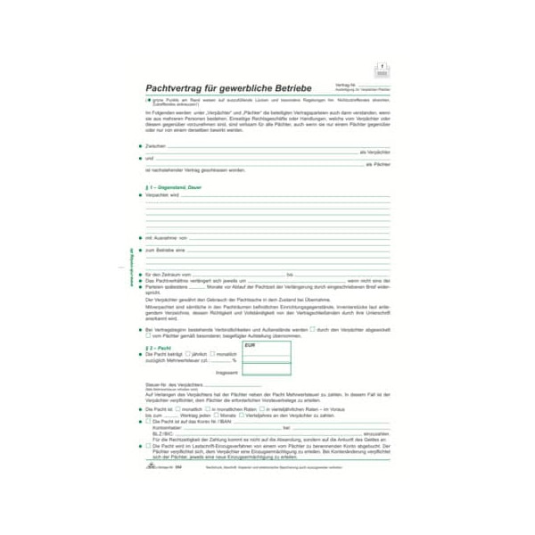 RNK 554 Pachtvertrag gewerblich A4