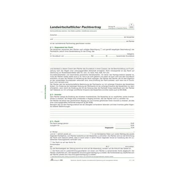RNK 555 landwirtschaftlich Pachtvertrag A4