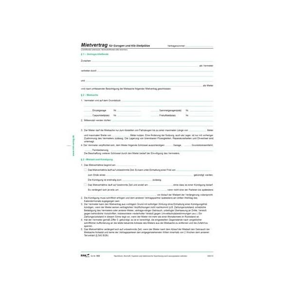 RNK 553 Mietvertrag f.Garagen