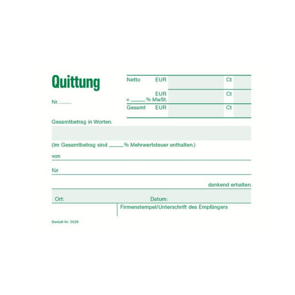 RNK Quittungsblock 3029 A6-quer mit MwSt 50 Blatt