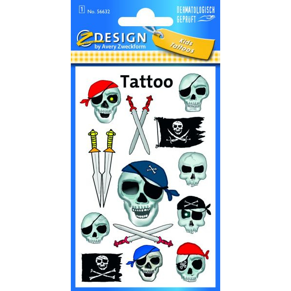 Zweckform 56632 Tattoo Piraten-Totenkopf fbg.