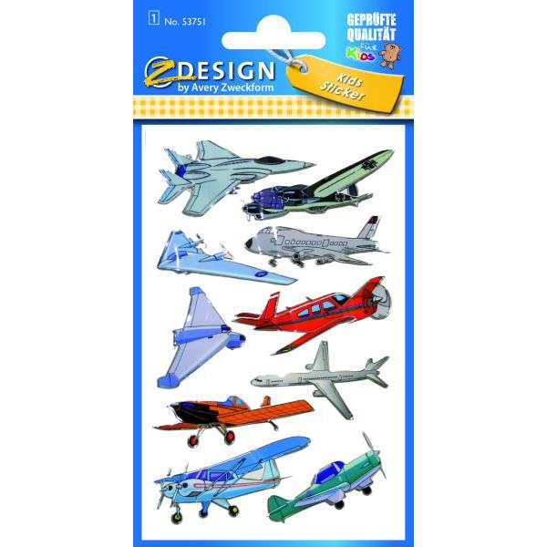 Zweckform 53751 Kidssticker Schmucketikett 3D Flugzeuge
