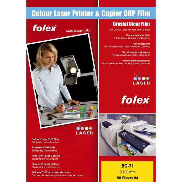 FOLEX Kopierfolie 29710.100.44100, A4, für S/W-Laserdrucker, Farb-Laserdrucker, S/W-Kopierer, Farb-Kopierer, 0,1mm, Overhead-Folie, t