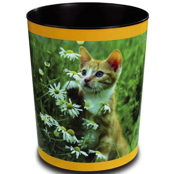 LÄUFER 26653 H.30cm Kunstst. Papierkorb 13L Katze mit Blume
