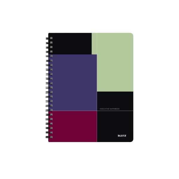 LEITZ Collegeblock Executive Notebook 4465-00-00, A4 kariert, 90g 80 Blatt, 4-fach-Lochung