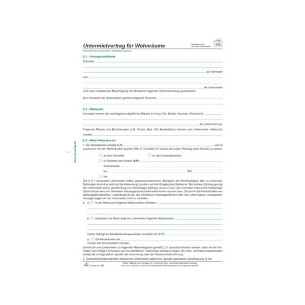 RNK 520 A4 4Seiten Untermietvertrag