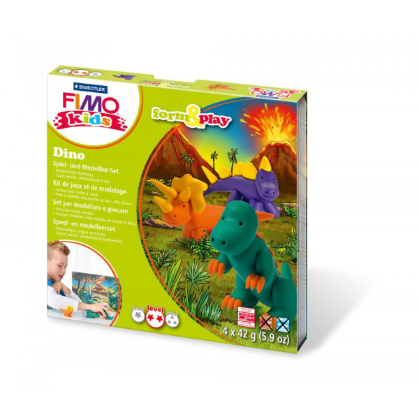 Staedtler 8034-07LY Form&Play Modellierset Fimo Kids Dino