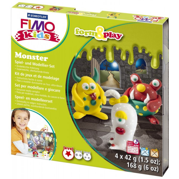 Staedtler 8034-11LY Form&Play Modellierset Fimo Kids Monster