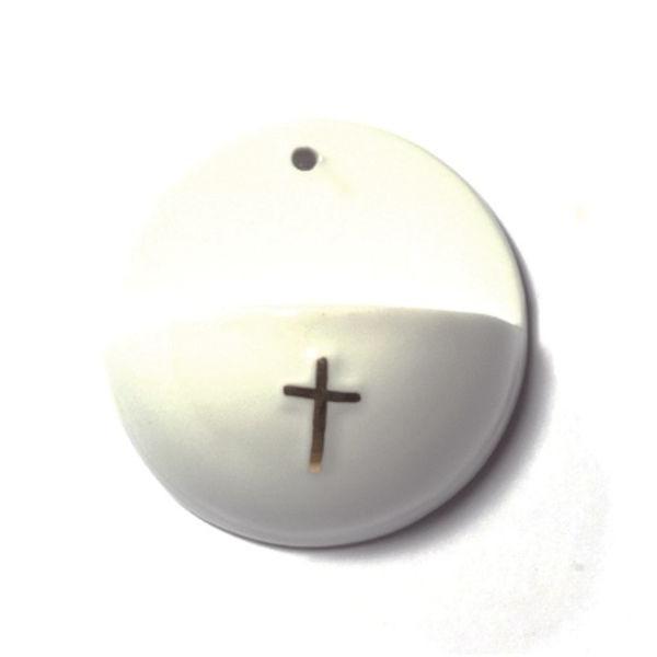 H88 Weihwasserkessel Keramik weiß