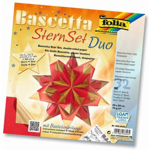FOLIA 326/2020 20x20cm 32Bl Bascetta-Stern Duo rot/gold