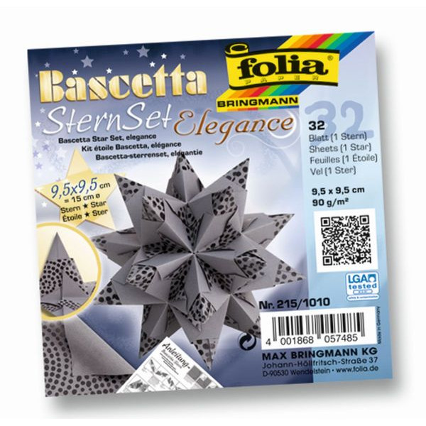 FOLIA 215/1010 9,5x9,5cm Bascetta Stern Pearls anthraz.
