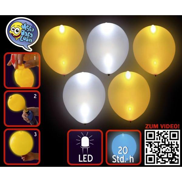 TIB 16965 leuchtend  5St Luftballon LED gold+silber sort.