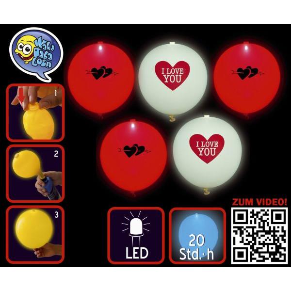 TIB 16966 leuchtend  5St Luftballon LED I love You sort.