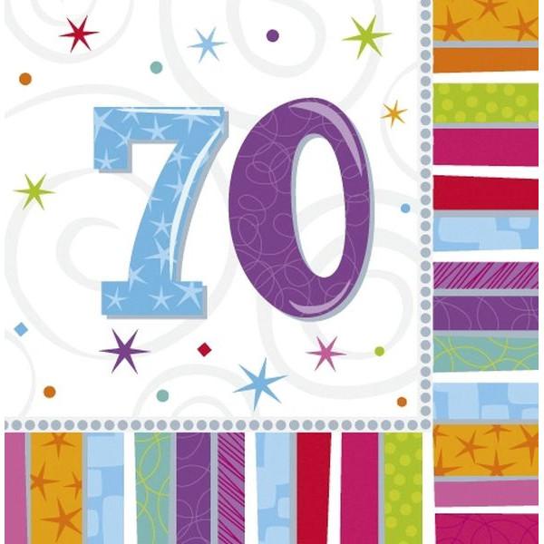 amscan Motivservietten 70 Geburtstag 33x33cm bunt 16 Stück