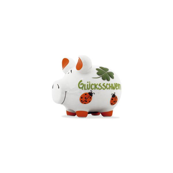KCG 101469 Glücksschwein Spardose Schwein mittel weiß