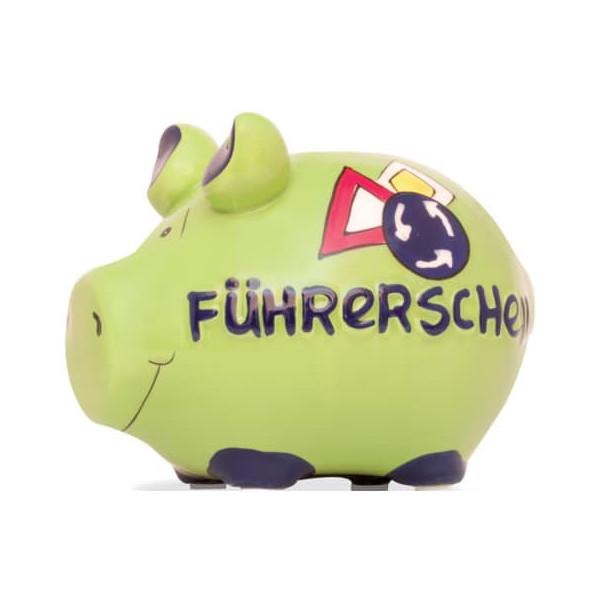 KCG 100479 Führerschein Spardose Schwein klein grün