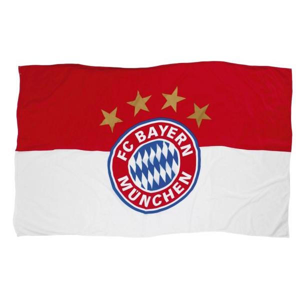 Fc Bayern Fahne 60x40cm mit Stock mit Logo rot/weiß