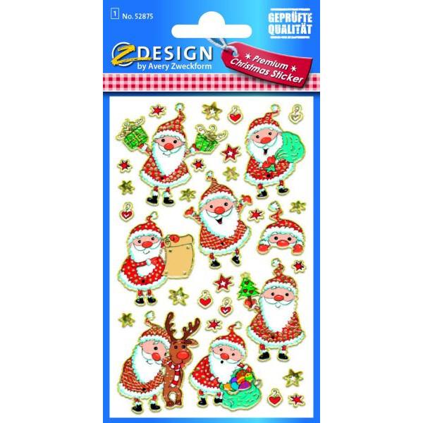 Zweckform 52875 Folie Weihn.Sticker Weihnachtsmann