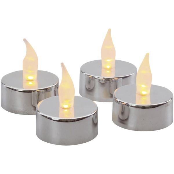 76359 Kunststoff Teelicht LED 4ST silber