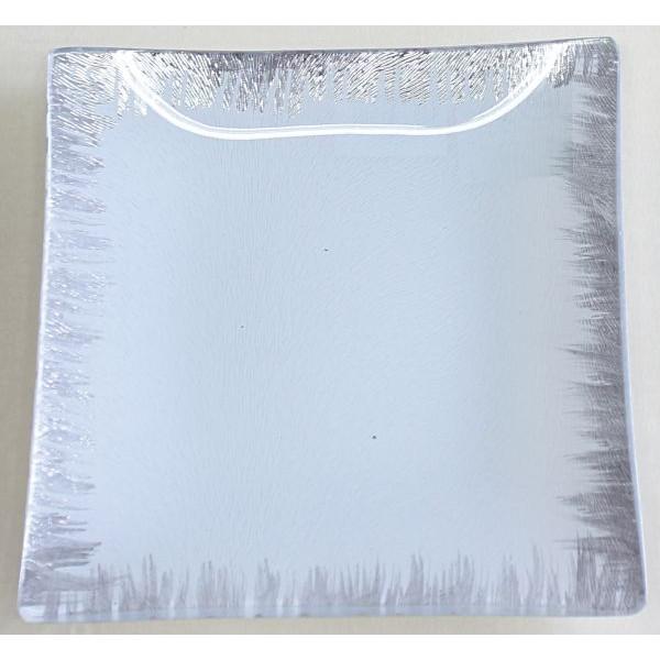 YQL7182-1 15x15cm Glas-Teller weiß- silber