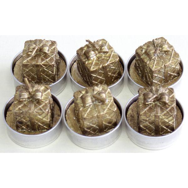 Weihnachts-Teelicht Ø 40mm Paket gold 6 Stück