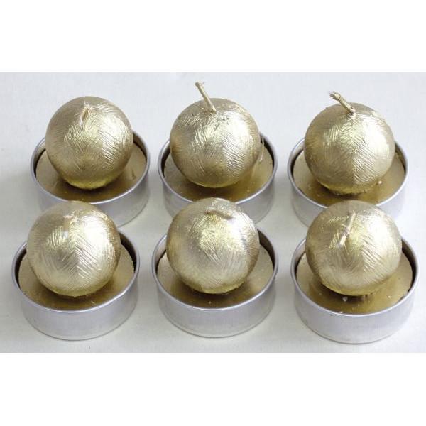 Weihnachts-Teelicht Ø 40mm Kugel gold 6 Stück