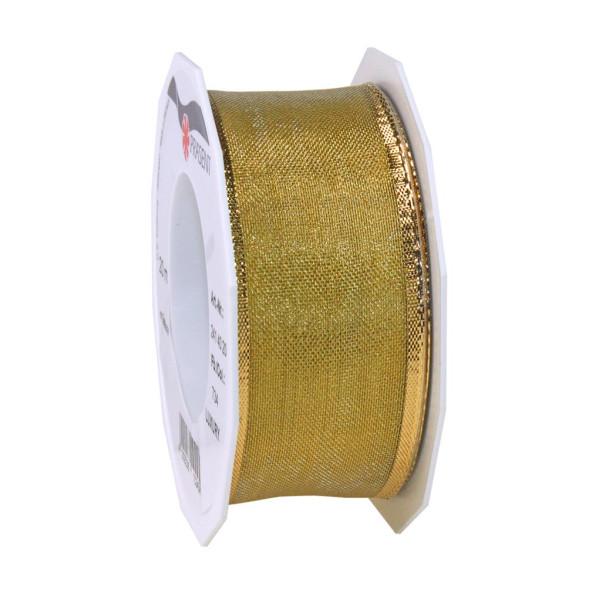 PRÄSENT Geschenkband Luxury Zierband mit Draht 40mm x 20m gold