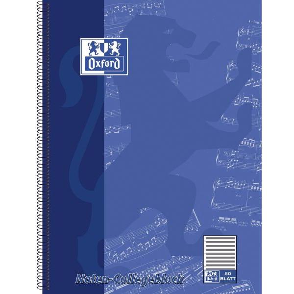 Oxford Collegeblock Noten 100050345, A4+ Notenlinien, 90g 50 Blatt, 4-fach-Lochung