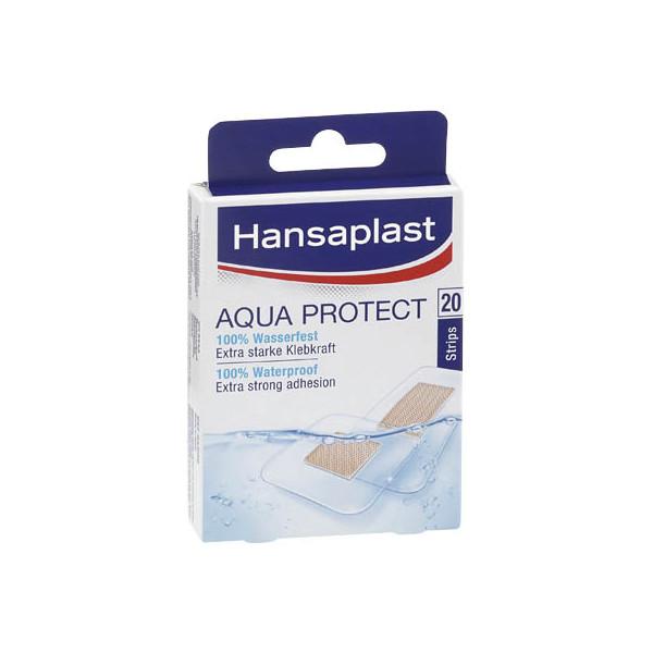 Hansaplast 12 Strips (2,5 x 7,2 cm), 8 Strips (3,9 x 3,9 cm) Wundpflaster Aqua Protect 76533