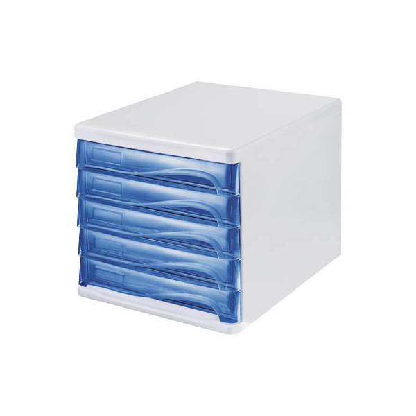 helit Schubladenbox H61299-30 weiss/blau mit 5 Schubladen geschlossen