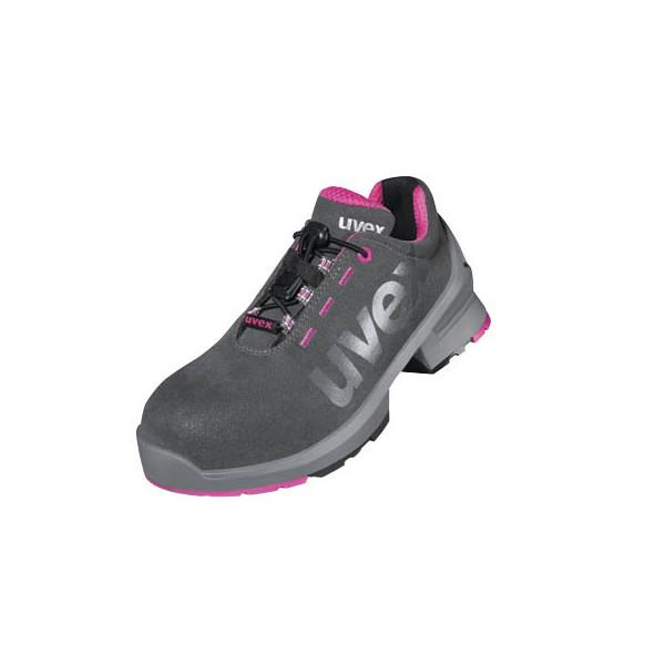 uvex Sicherheitsschuhe S2 grau, pink Größe 38, Weite 10 85627