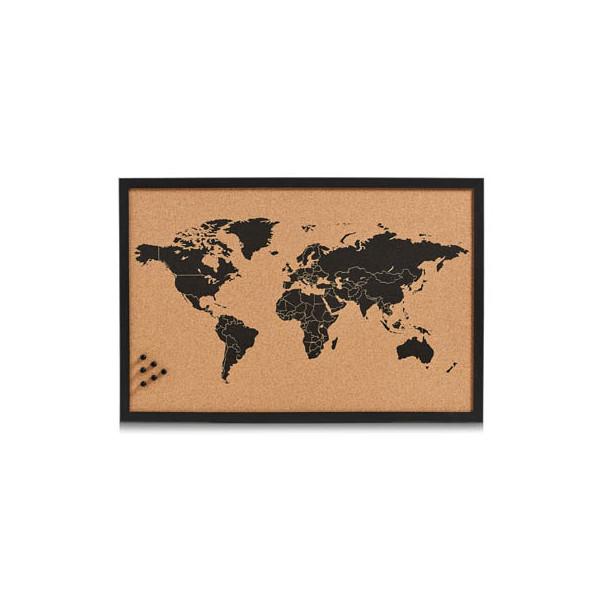Zeller Pinnwand 11571, 60x40cm, Kork, Holzrahmen, Weltkarte, braun + schwarz