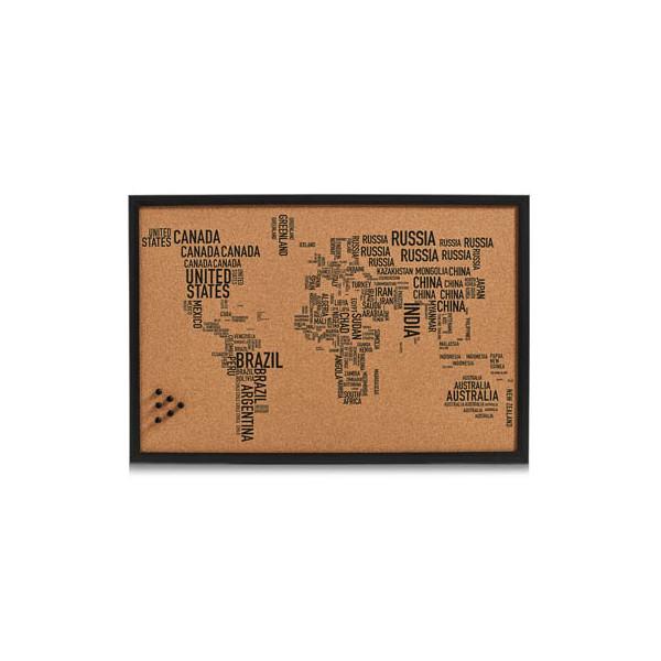 Zeller Pinnwand 11570, 60x40cm, Kork, Holzrahmen, Weltkarte, braun + schwarz