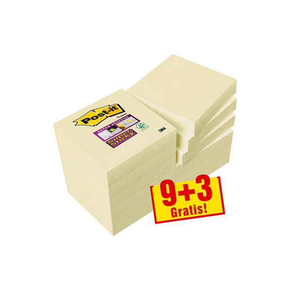 Post-it 9+3 GRATIS: Super Sticky Notes Haftnotizen 62212SY gelb 622SY9+3