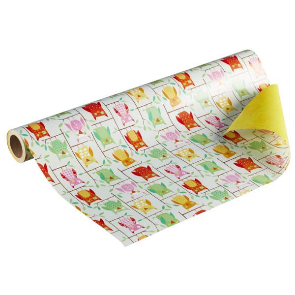 Geschenkpapier Euly Eule beidseitig bedruckt grün/rot/pink/gelb 50cm x 20m