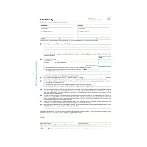 RNK 583 A4 100BL Kaufvertragblock Allg.