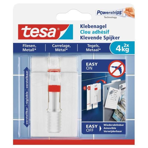 TESA Klebenagel 77767 für Fliesen und Metall max 4kg weiß 2 Stück