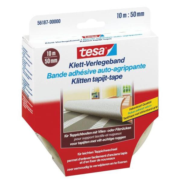 Tesa Klett-Verlegeband für Teppiche, 10m x 50mm